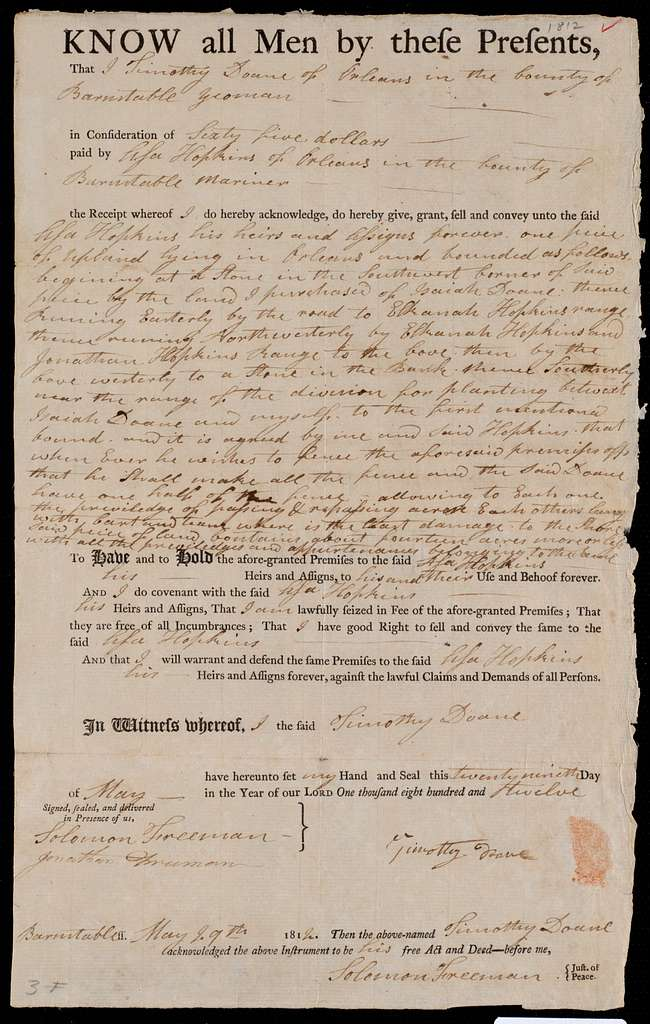 Deed of property in Orleans sold to Asa Hopkins of Orleans by Timothy Doane of Orleans