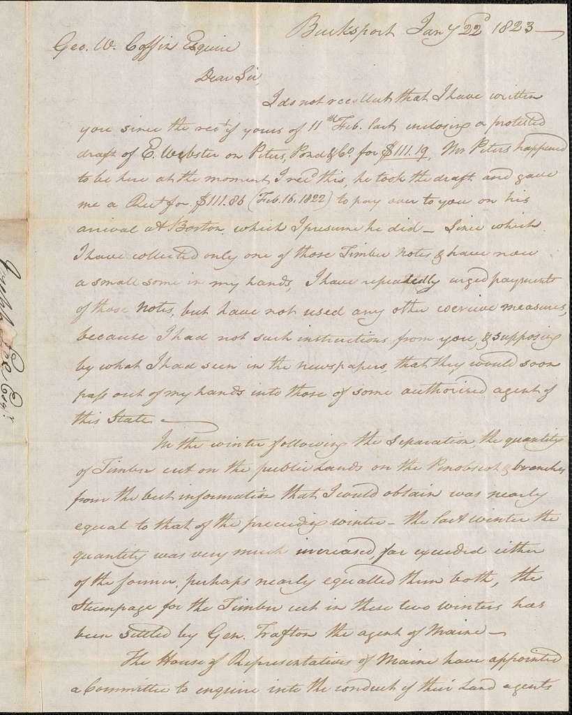 Joseph Lee to George Coffin, 22 January 1823