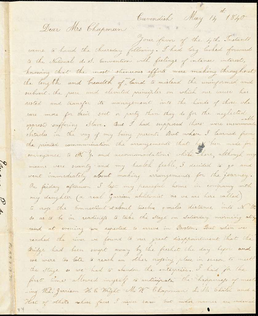 Letter from Emma Parker, Cavendish, [Vermont], to Maria Weston Chapman, 1840 May 14