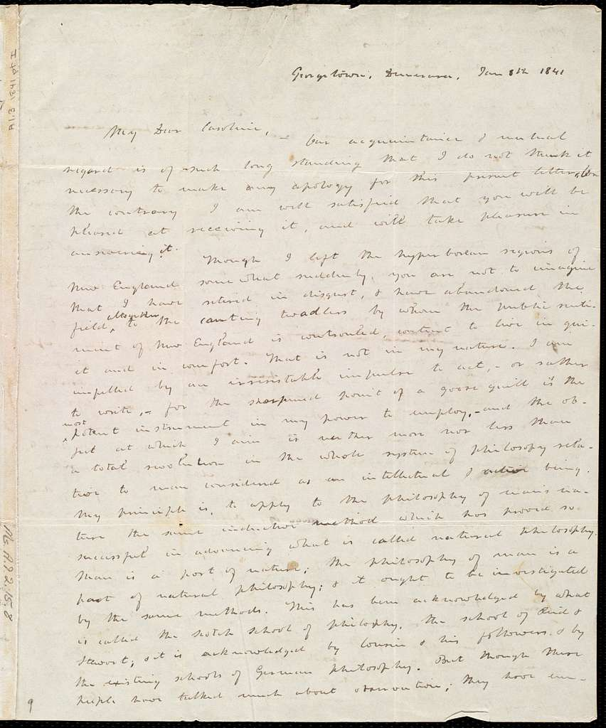 Letter from Richard Hildreth, Georgetown, Demerara, [Guyana, South America], to Caroline Weston, Jan. 8th, 1841