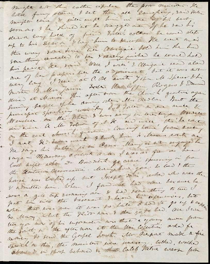 Letter from Anne Warren Weston, [Boston], to Caroline Weston and Deborah Weston, Monday night. May 29, [1843?]