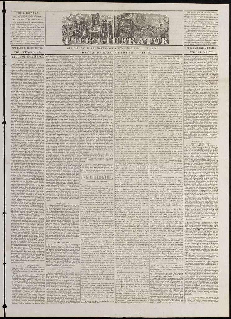 The liberator. v.15:no.42(1845:Oct.17)