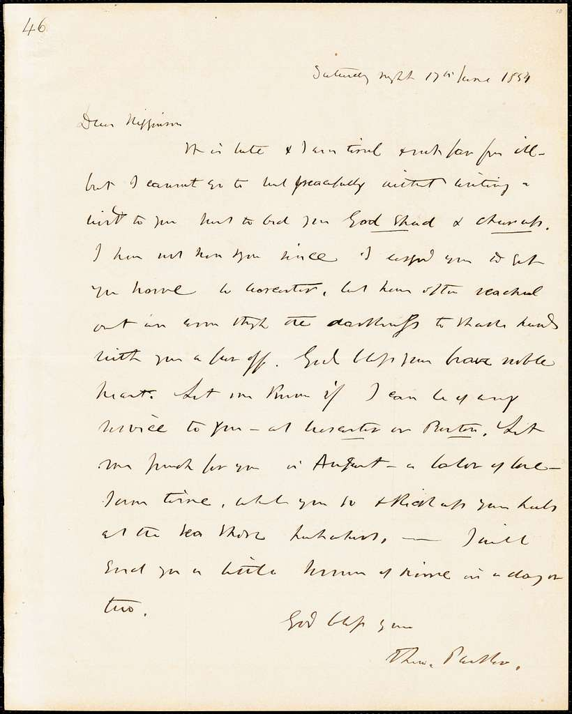 Letter from Theodore Parker to Thomas Wentworth Higginson, 1854 June 17