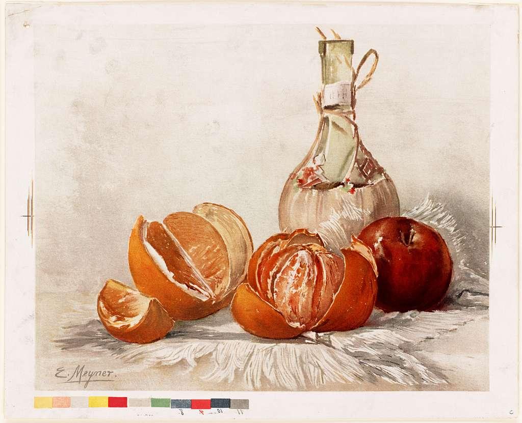 Oranges and Wine Bottle