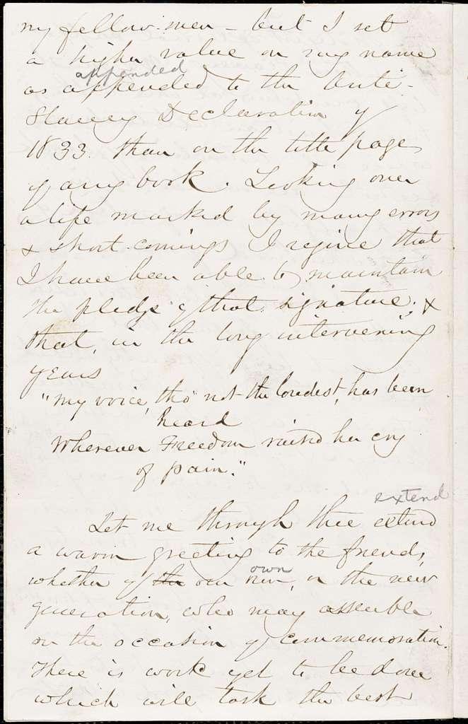 Letter from John Greenleaf Whittier, Amesbury, [Massachusetts], to William Lloyd Garrison, 1863 [November] 24th