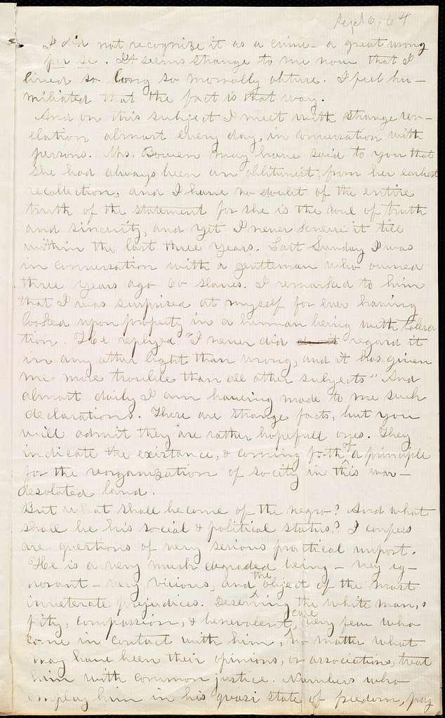 Letter from John W. Bomen, Near Murfreesboro, to Maria Weston Chapman, Sept. 6th, 1864