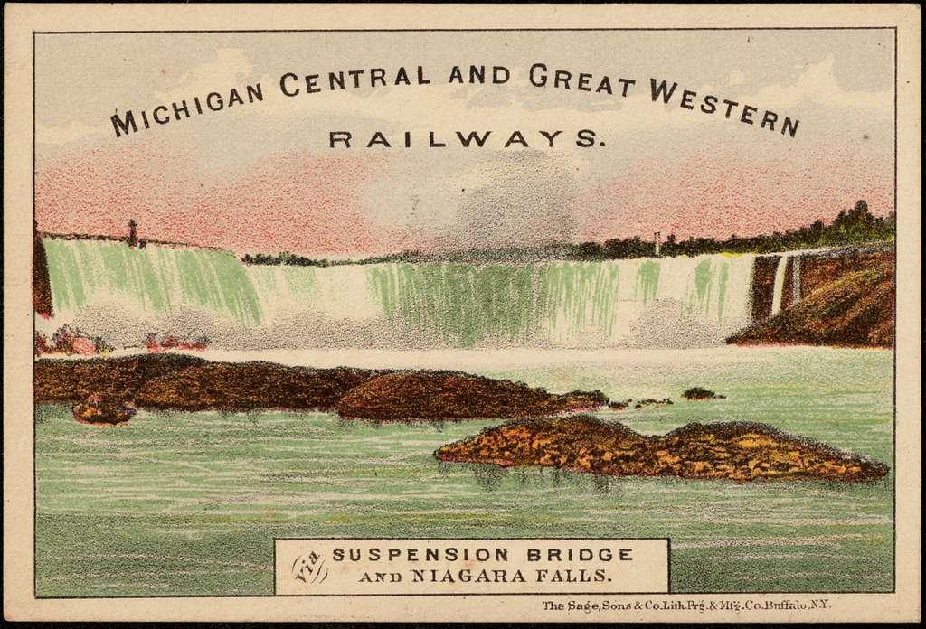Michigan Central and Great Western Railways. Via suspension bridge and Niagara Falls.