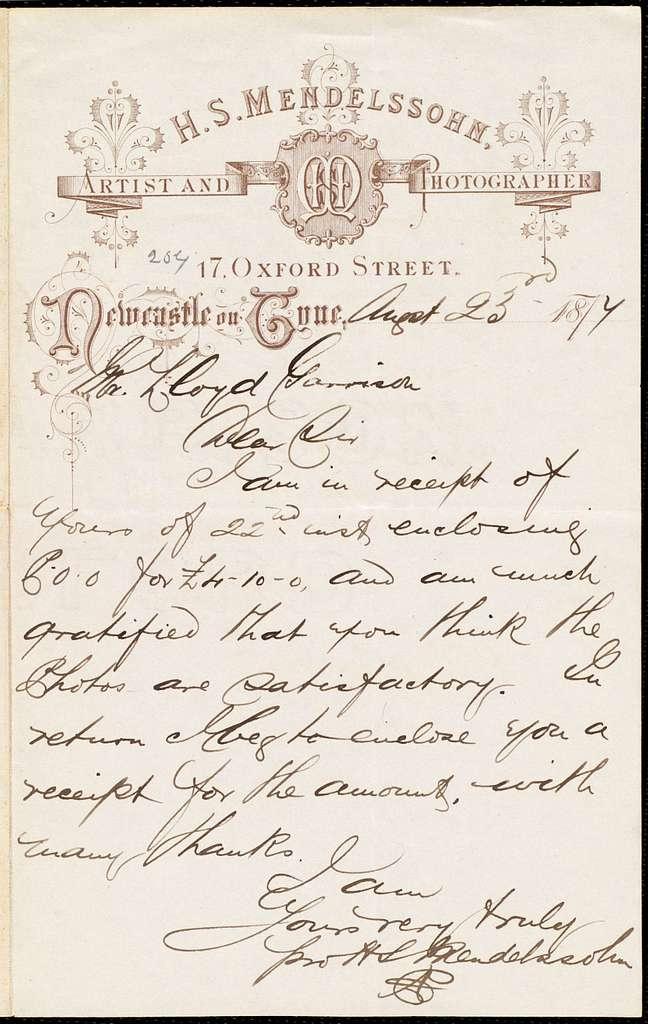 Letter from Hayman Selig Mendelssohn, [Newcastles upon Tyne, England], to William Lloyd Garrison, August 23 1877