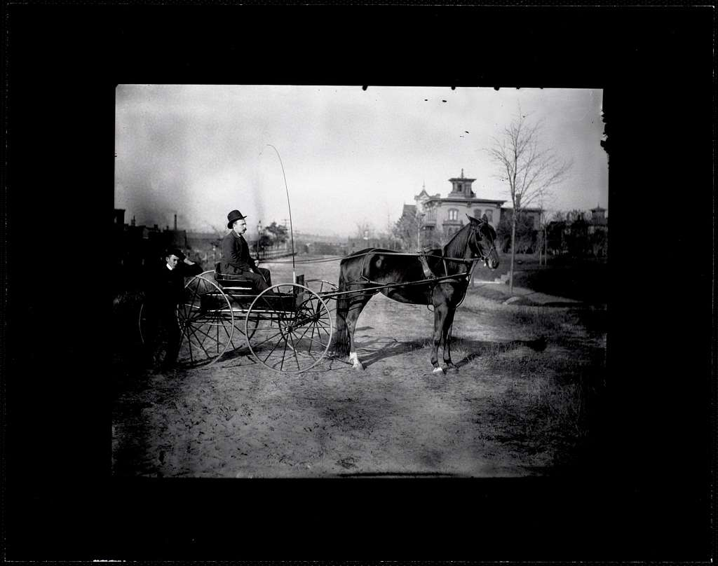 Two men with a horse and buggy