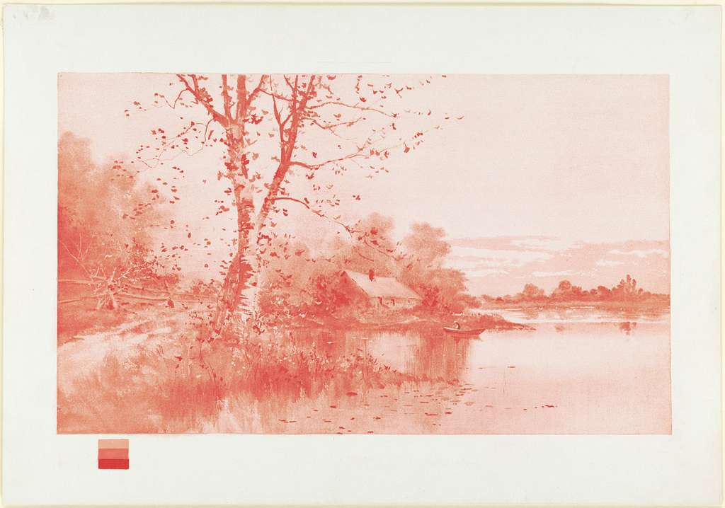 First lithographic print in the primary triad of colors [Red]