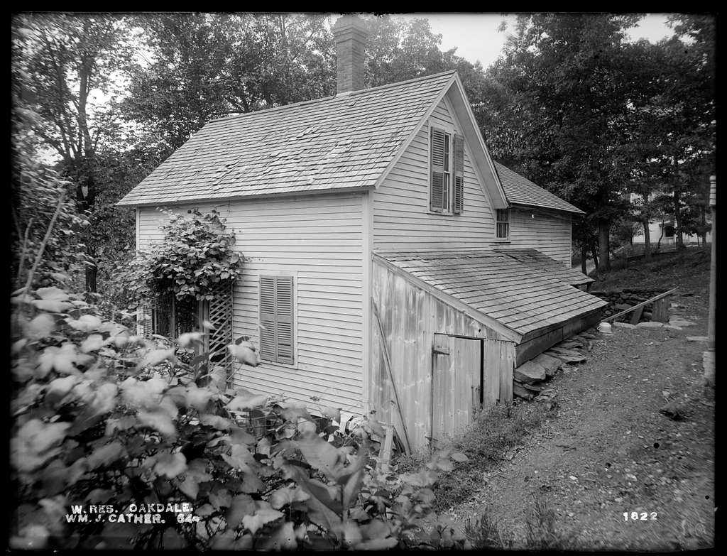Wachusett Reservoir, William J. Cather's house, on the northerly side of Laurel Street, from the northeast, Oakdale, West Boylston, Mass., Jun. 24, 1898