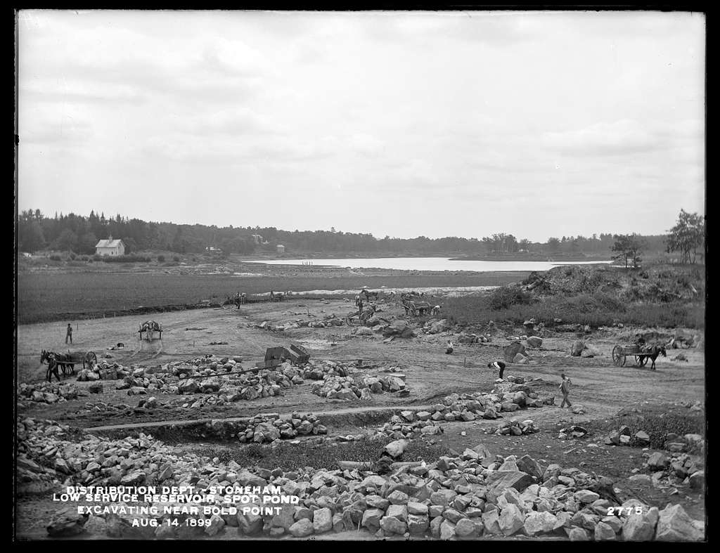 Distribution Department, Low Service Spot Pond Reservoir, excavating near Bold Point, from the northeast, Stoneham, Mass., Aug. 14, 1899