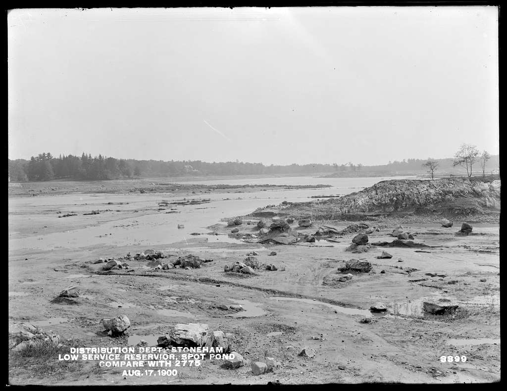 Distribution Department, Low Service Spot Pond Reservoir, Section 1, near Bold Point (compare with No. 2775), Stoneham, Mass., Aug. 17, 1900