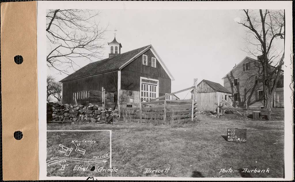 "Ethel M. Grindle, ""B,"" barn, Prescott, Mass., Dec. 27, 1927 : Parcel no. 368-22, Ethel M. Grindle"