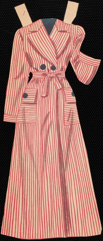 Clothes for Betty Grable paper doll with hands out