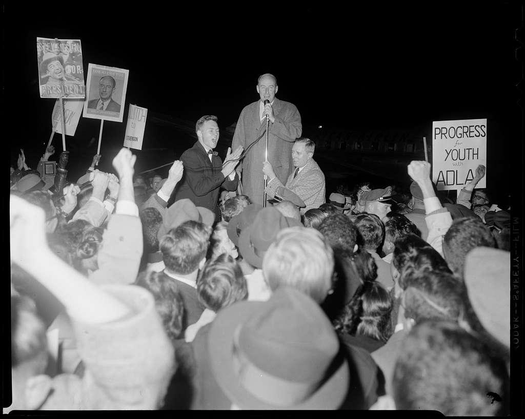 Adlai Stevenson speaking to supporters